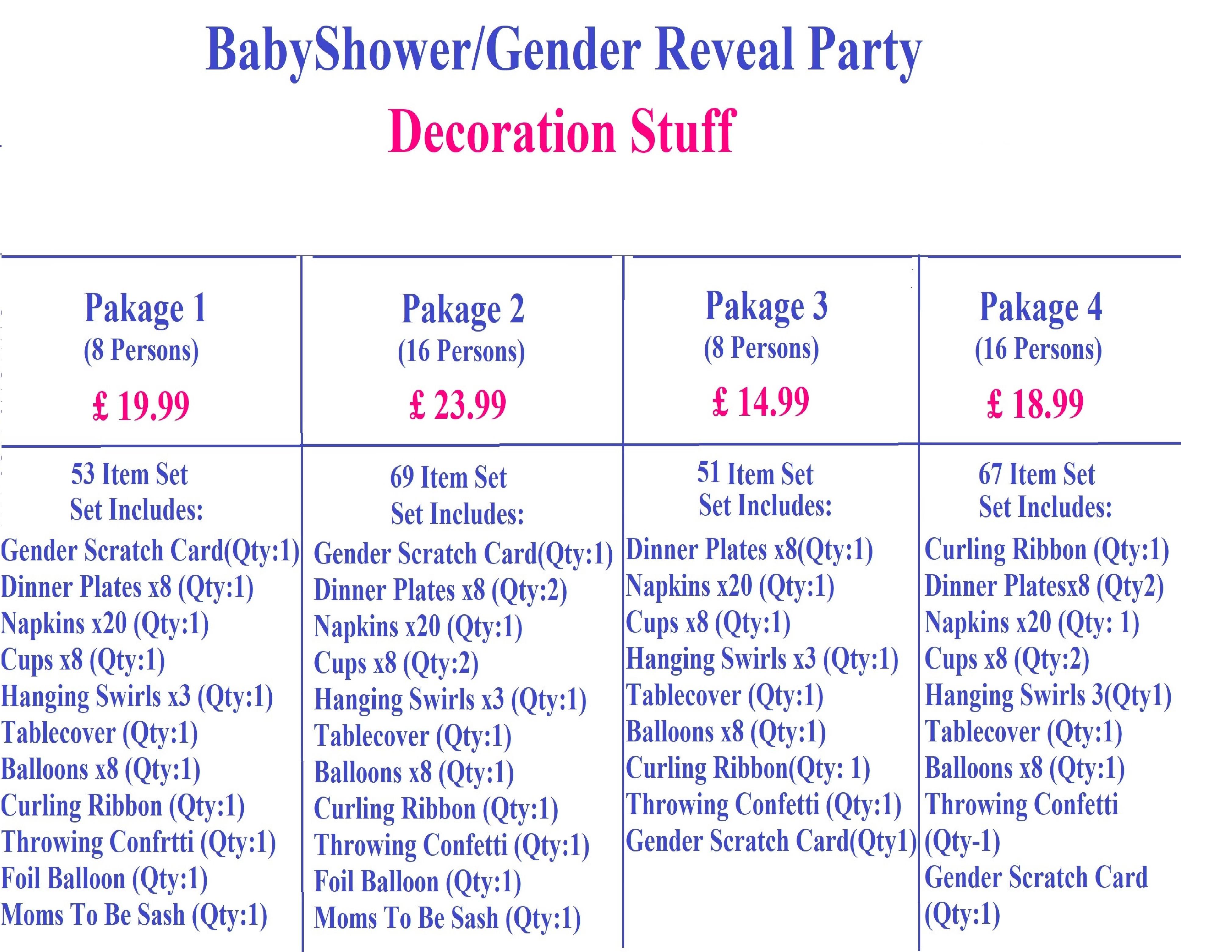 Gender Reveal Price List